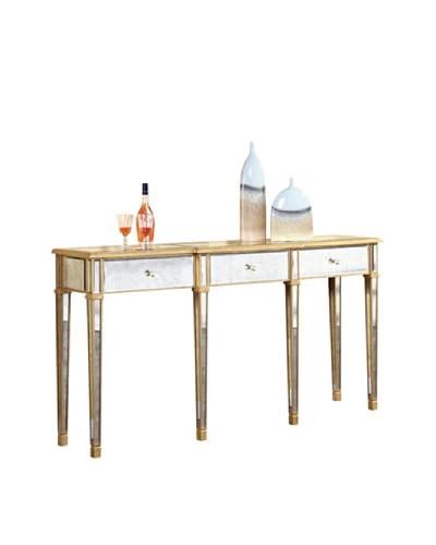 Florentine 3-Drawer Table, Gold Leaf/Antique Mirror