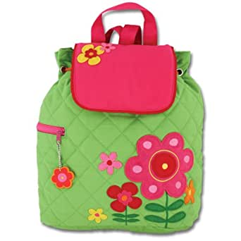 Stephen Joseph Girls' Quilted Backpack, Flower, 12x 13.5