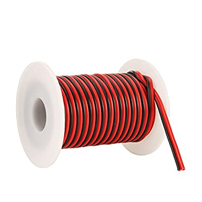 C-able 35FT 18 AWG Gauge Electrical Wire Hookup Red Black Copper Stranded Auto 2 Wire Low Voltage 12v DC Wire for Single Color LED Strip Extension Cable Cord Spool