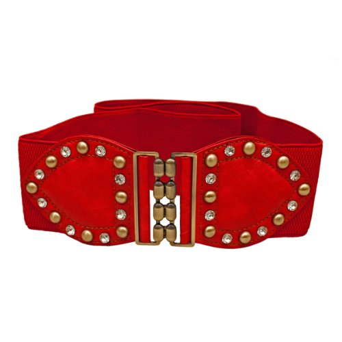 eVogues Plus Size Rhinestone Studded Elastic Belt Red - One Size Plus