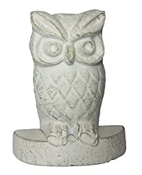 Owl Decor Heavy Cast Iron Decorative Door Stop with Vintage Distressed Look (Antique White)