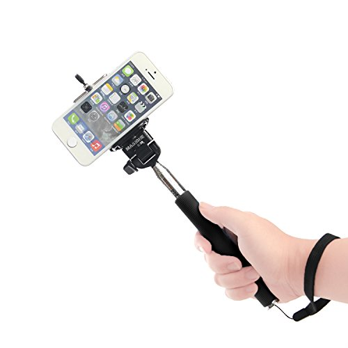 Masione™ Smartphone Iphone Extendable Extender Telescopic Handheld Monopod Holder Pole For Iphone 4/4S/5/5S Samsung Galaxy S5 S4 S3 Compact Gopro Camera -Adjustable (Black)