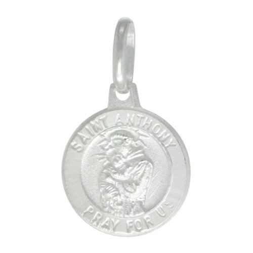 Sterling Silver Saint Anthony Medal 1/2 inch Round Made in Italy, Free 24 inch Surgical Steel Chain