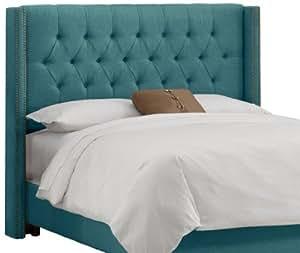 Skyline Furniture Diamond Tufted Wingback Queen Headboard in Linen Teal