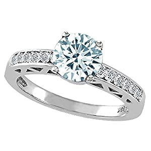 1.37 cttw Genuine Aquamarine and Diamond Solitaire Engagement Ring in 14k White Gold Size 4