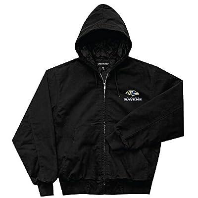 NFL Baltimore Ravens Cumberland Canvas Quilt Lined Hooded Jacket, Black, X-Large