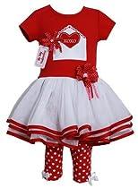 Bonnie Jean Baby Girls Valentine Tutu Dress Outfit w/ Leggings, Red, 2T