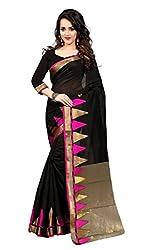 Dealseven Fashion New Black Colure Cotton Woman Silk Saree