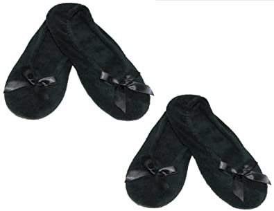 totes ISOTONER Womens Terry Classic Ballerina Slippers (Pack of 2), Large, Black and Black
