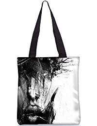 Snoogg Portrait Digital Digitally Printed Utility Tote Bag Handbag Made Of Poly Canvas