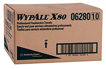 "Kimberly-Clark Wypall X80 Hydroknit Foodservice Towel, 23-25/64"" Length x 12-1/2"" Width, White with Blue Stripe (Case of 150 Towels)"