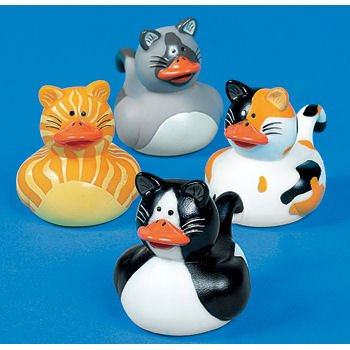 12 Mini CAT Kitty Rubber Duckie Ducky Duck Party Favors