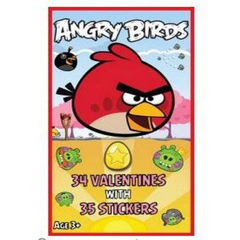 Angry Birds Valentine's Day Cards with Stickers Party Accessory - 1