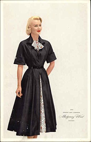 Vintage Advertising Postcard: Blonde Woman in Black Dress - Spring and Summer - Montgomery Ward