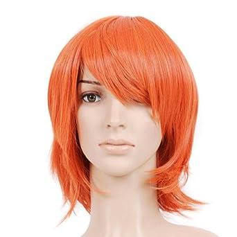 Red Orange Short Cut Anime Costume Cosplay Wig