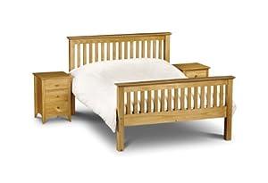 Julian Bowen Barcelona Bed with High Foot End 90 cm, Antique Pine