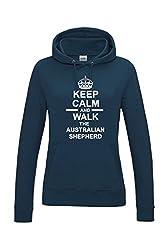 Keep Calm & Walk The Australian Shepherd Dog Womens Hooded Sweatshirt