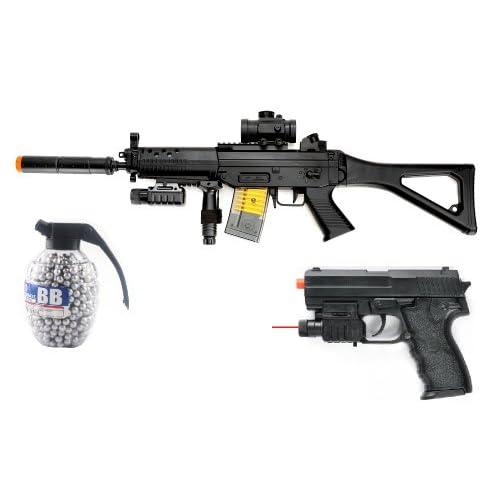 electric sig 552 assault rifle fps 250 w/ red dot sight, laser, flashlight airsoft gun + flashlight, laser, spring pistol 180 fps + 800 count high quality grenade bbs(Airsoft Gun)