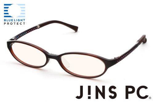 【JINS PC オーバル ハイコントラストレンズ】PC(ディスプレイ)専用メガネ (度なし) (DARK BROWN)