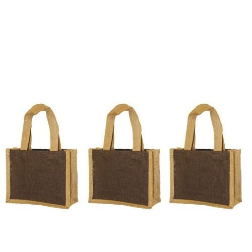 3 pcs- Brown Color Small Wedding Gift tote Eco-friendly Jute Burlap Bags 10W x 9H x 3 Gusset - Summer End Sale