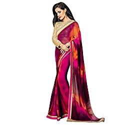 Vishal multicolor Georgette Printed Work on Saree With Embroidery work on Blouse Saree