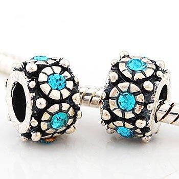 Andante-Stones 925 Silber Bead mit 5 cyan Glaskristallsteinen Element Kugel für European Beads + Organzasäckchen