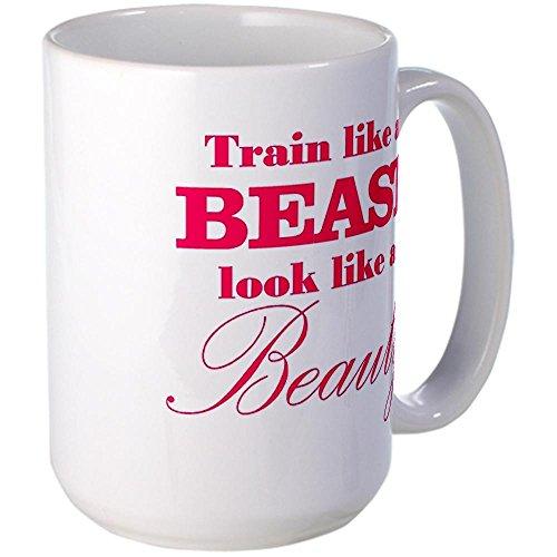 Cafepress Train Like A Beast Look Like A Beauty Pink Mug Large Mug - Standard