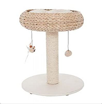 Comfy Natural Woven Cat Basket With Solid Wood Base And Very Soft Plush Sleeping Bed - Can Fit Small To Larger Breed Of Cats