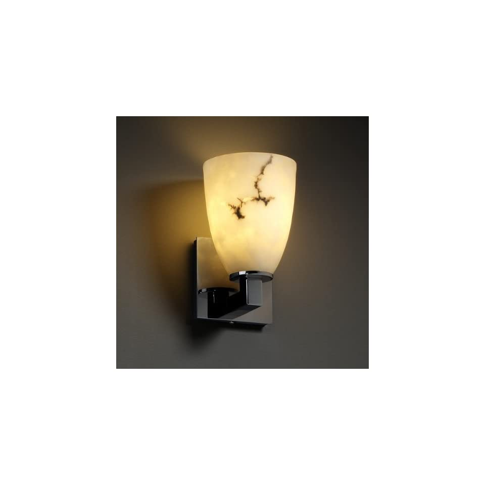 Justice Design Group FAL 8921 MBLK Matte Black LumenAria Alabaster Stone / Glass Reversible Wall Sconce from the LumenAria Collection