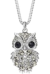 Neoglory Made with Swarovski Elements Crystal Vintage Owl Animal Pendant Necklace Charm Jewelry