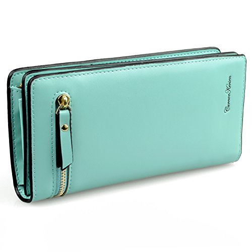 RFID-Blocking-Wallet-Clutch-Women-Leather-Handbag-Zipper-Organizer-Card-Holder-Mint-Green