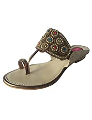 Step N Style Ladies Kolhapuri Style Multi Embroidery Crystal Work Chappal