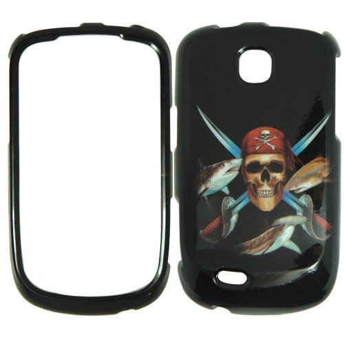 Samsung Dart T499 T-Mobile - Pirate Skull Swords and Fish on Black Plastic Case, SnapOn, Protector, Cover (Samsung Dart Case compare prices)