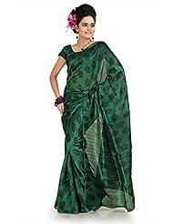 Designersareez Women Bhagalpuri Silk Printed Green Saree With Unstitched Blouse(1012)
