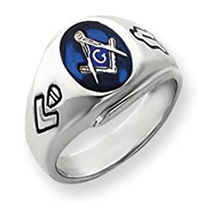 14k Gold White Gold Men's Masonic Ring