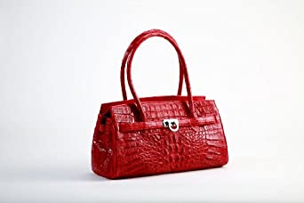 Crocodee Red Crocodile Leather Analia Satchel Handbag Purse
