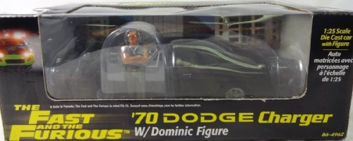 The Fast And The Furious '70 Dodge Charger 1/25Th Die Cast Car W/ Dominic Figure Adult Collectible Set (2002 Release)
