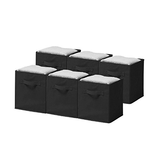 Cheap Sorbus Foldable Storage Cube Basket Bin (6 Pack, Black)
