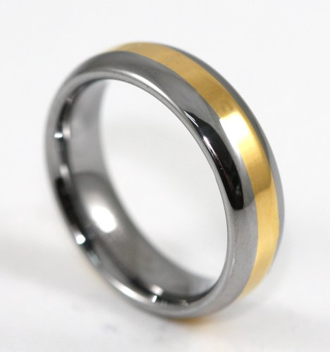 6MM yellow band Tungsten Carbide Wedding Band Ring Size 10.5