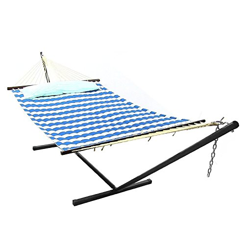 Sunnydaze QFH-RB-COMBORoyal Blue Quilted Double Fabric Hammock with Spreader, Pillow and Stand