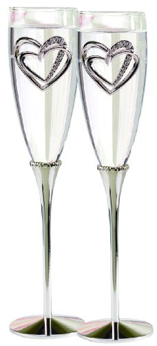 Hortense B. Hewitt Wedding Accessories Champagne Toasting Flutes, Sparkling Heart, Set of 2