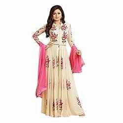 Shree Khodal Women's White Georgette Dress Material [SK_JCN1111_D]