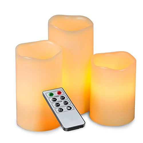 Kohree Real Wax Flameless Candles Battery Operated Led Candles Lights Remote Control Candles with Timer (Pack of 3) (Candles Timer Real Wax compare prices)