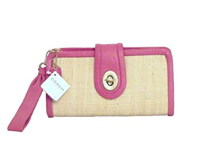 Coach Parker Bright Pink Leather Straw Clutch F42474 Purse Handbag Wristlet NWT Authentic Retail $208