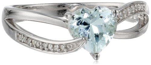 Sterling Silver Aquamarine and Diamond Ring (0.05 Cttw, G-H Color, I2-I3 Clarity), Size 8
