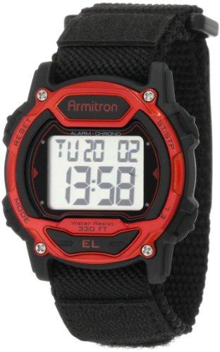 Armitron Women's 39mm Black Resin Band & Case Acrylic Crystal Quartz Grey Dial Digital Watch 45/7004RED