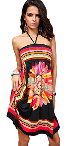 Honeystore Women's Boho Sunflower Print Summer Island Beach Casual Dress Black L