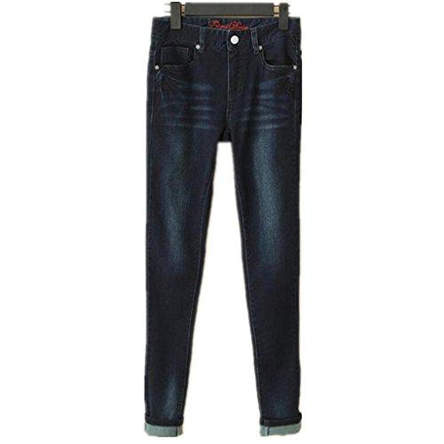 ZYQYJGF Distruggere Blu Denim Elasticizzato Tutte Curve Base Bootcut Jeans Donna Skinny Strappato Distressed Pantaloni Slim Tasca Classic . Deep Blue . 170