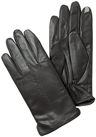 Isotoner Men's Smartouch Basic Glove with 1 Draw Anti-Microbial Fleece Lining, Brown, Large