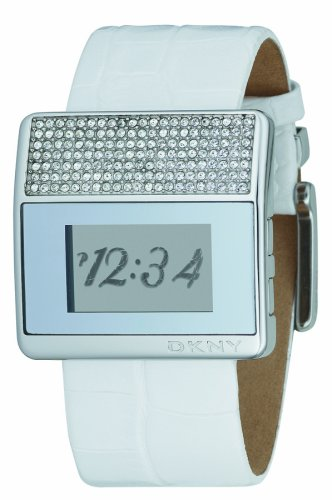 DKNY NY3961 Ladies Stainless Steel, White Leather Strap, Crystal Set Digital Watch